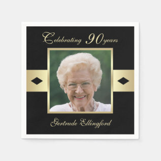90th Birthday Party Photo On Black Paper Napkin at Zazzle