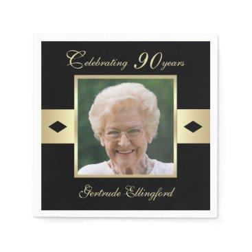 birthday 90th Birthday Party Photo on Black Paper Napkin