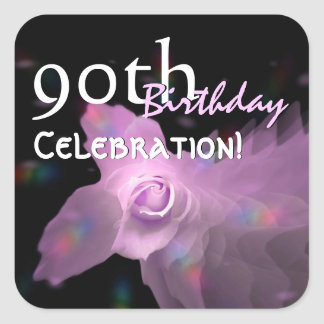 90th Birthday Party Pink Dancing Butterfly Rose Square Sticker
