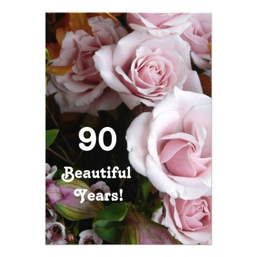 90th Birthday Party- Pink Rose Bouquet Personalized Invites