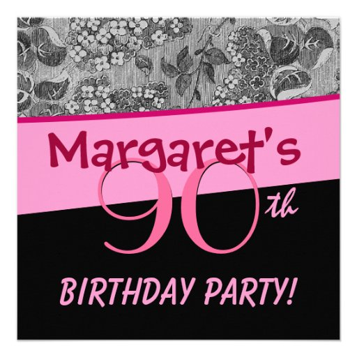 90th Birthday Party Pink Vintage Flowers Silver Invites