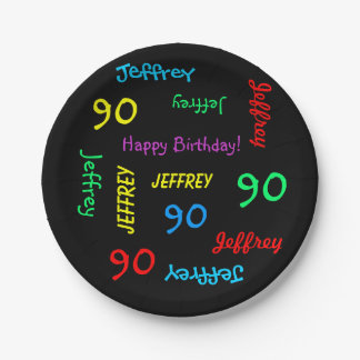 90th Birthday Party, Repeating Names, FUN Black Paper Plate