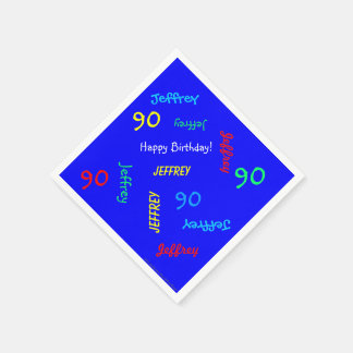 90th Birthday Party Repeating Names Royal Blue Paper Napkin