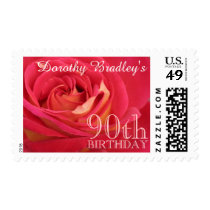 90th Birthday Party Rose Customizable Postage