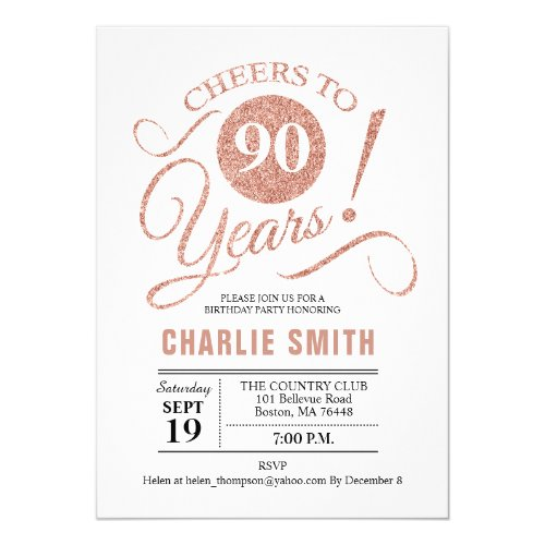 Rose Gold Cheers to 90 Years Birthday Party Invitation