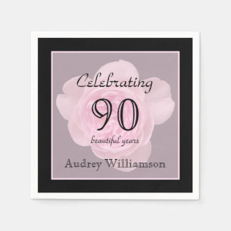 90th Birthday Party Rose Paper Napkins