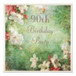 90th Birthday Party Shabby Chic Hibiscus Flowers 5.25x5.25 Square Paper Invitation Card
