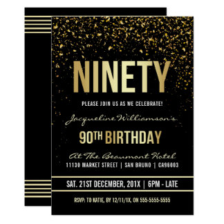 90th Birthday Party | Shimmering Gold Confetti Card