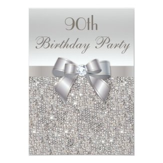 90th Birthday Party Silver Sequins, Bow & Diamond Card