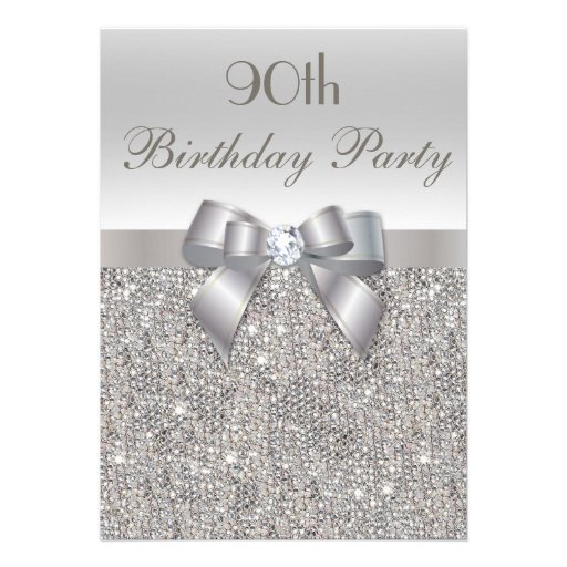 90th Birthday Party Silver Sequins, Bow & Diamond Announcement (front side)