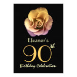 90th Birthday Party Sophisticated Gold Rose Personalized Announcements