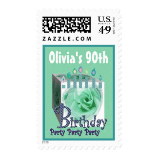 90th Birthday Party Stamp GREEN Rose & Candles