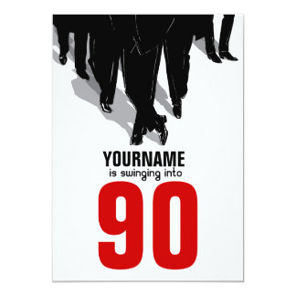 "90th Birthday Party Swingers Rat Pack 5"" X 7"" Invitation Card"