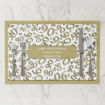 """90th Birthday Party Theme Gold/White Pattern Paper Placemat<br><div class=""""desc"""">Celebrate your 90th birthday with these fun, white and gold placemats for you to personalize. The pattern is a random scattering of the gold number 90 over a white background for an all-over print. It is framed with a gold frame . There is a gold label in the center for...</div>"""