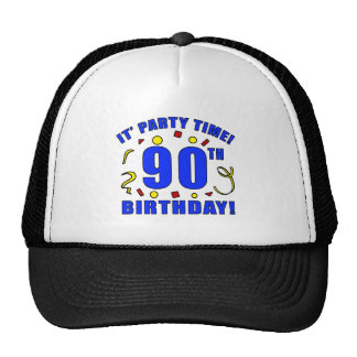 90th Birthday Party Time Trucker Hats