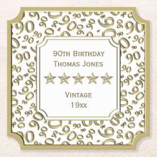 90th Birthday Party White/Gold Pattern Theme Paper Coaster