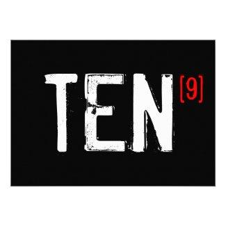 90th Birthday - Perfect Ten Invitation