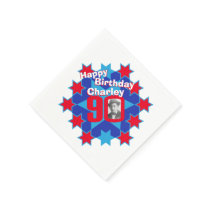 90th birthday photo and name red star napkins