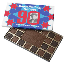 90th birthday photo blue white red star chocolate