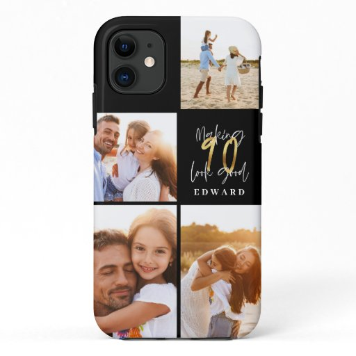 90th birthday photo collage black gold typography iPhone 11 case