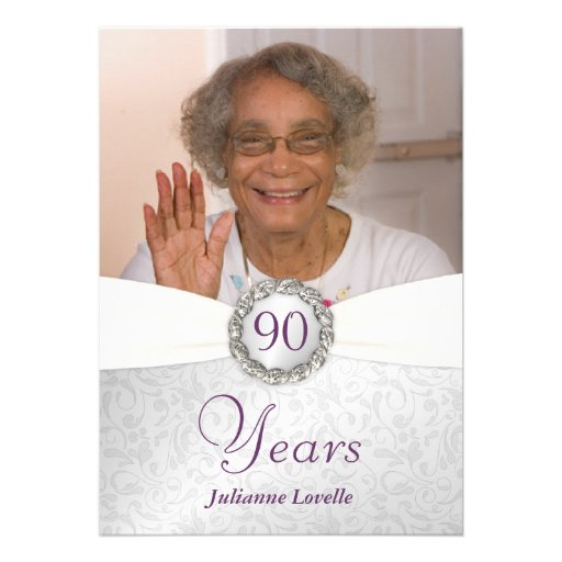 90th Birthday Photo Invitations - Silver & Purple