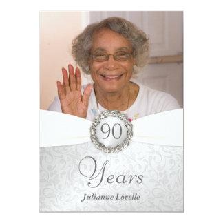 """90th Birthday Photo Invitations - Silver & White 5"""" X 7"""" Invitation Card"""
