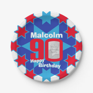 90th birthday photo name blue star paper plate