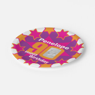 90th birthday photo name pink star paper plate