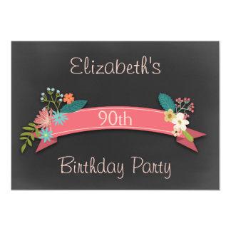 90th Birthday Pink Banner Flowers Chalkboard Card