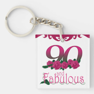 90th Birthday pink flower photo floral keychain