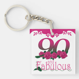 90th Birthday pink flower photo text keychain