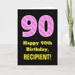 "[ Thumbnail: 90th Birthday: Pink Stripes and Hearts ""90"" + Name Card ]"