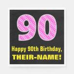 "[ Thumbnail: 90th Birthday: Pink Stripes and Hearts ""90"" + Name Napkins ]"