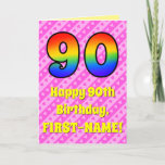 [ Thumbnail: 90th Birthday: Pink Stripes & Hearts, Rainbow # 90 Card ]