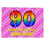 [ Thumbnail: 90th Birthday: Pink Stripes & Hearts, Rainbow # 90 Gift Bag ]