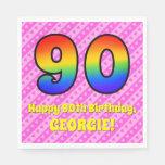 [ Thumbnail: 90th Birthday: Pink Stripes & Hearts, Rainbow # 90 Napkins ]