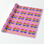 [ Thumbnail: 90th Birthday: Pink Stripes & Hearts, Rainbow # 90 Wrapping Paper ]