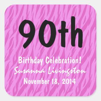 90th Birthday Pink Zebra Custom Name V02 Square Sticker