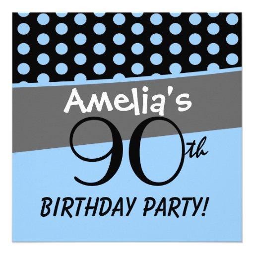 90th Birthday Polka Dots Modern Template Personalized Invitation