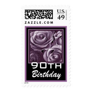 90th Birthday Pretty Purple Roses Stamp