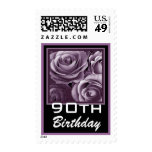 90th Birthday Pretty Purple Roses Stamps