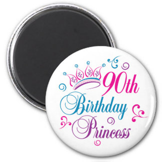 90th Birthday Princess Fridge Magnets