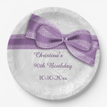 90th Birthday Purple Damask and Faux Bow Paper Plate