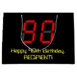 "[ Thumbnail: 90th Birthday: Red Digital Clock Style ""90"" + Name Gift Bag ]"