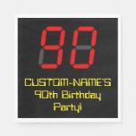 "[ Thumbnail: 90th Birthday: Red Digital Clock Style ""90"" + Name Napkins ]"