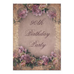 90th Birthday Romantic Vintage Roses and Lace Card