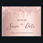 """90th birthday rose gold glitter save the date postcard<br><div class=""""desc"""">A girly and trendy Save the Date card for a 90th birthday party. A feminine pink, rose gold faux metallic looking background decorated with faux rose gold glitter drips. Templates for a date and name/age 90. Dark rose gold colored letters. The text: Save the Date is written with a large...</div>"""