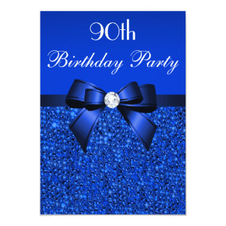 90th Birthday Royal Blue Sequins Bow and Diamond 5x7 Paper Invitation Card