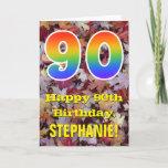 "[ Thumbnail: 90th Birthday; Rustic Autumn Leaves; Rainbow ""90"" Card ]"
