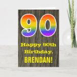 "[ Thumbnail: 90th Birthday: Rustic Faux Wood Look, Rainbow ""90"" Card ]"